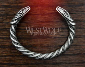 Silver Viking Snake Bracelet - Twisted Serpent Bangle -- Norse Mythology/Loki/Jormungandr/Dragon/Worm/Ring/Cuff