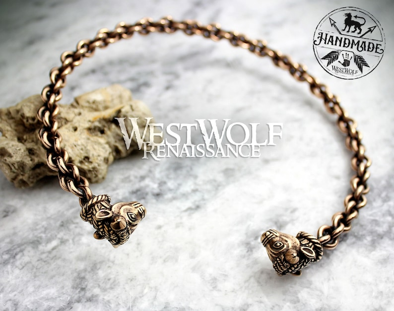 3810db27ac38a Celtic Bull's Head Torc - Solid Bronze --- Viking/Norse/Gaelic/Neck  Ring/Necklace/Cuff/Jewelry