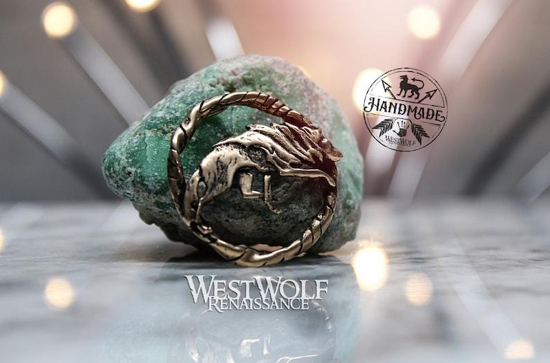 Bronze Direwolf Brooch or Badge VikingCelticPaganFenrirOdinScandinavian WolfCloak Pin -