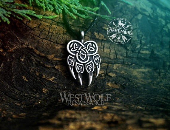 Knotted Wolf Paw Pendant In Silver Or Gold Viking Or Celtic Etsy