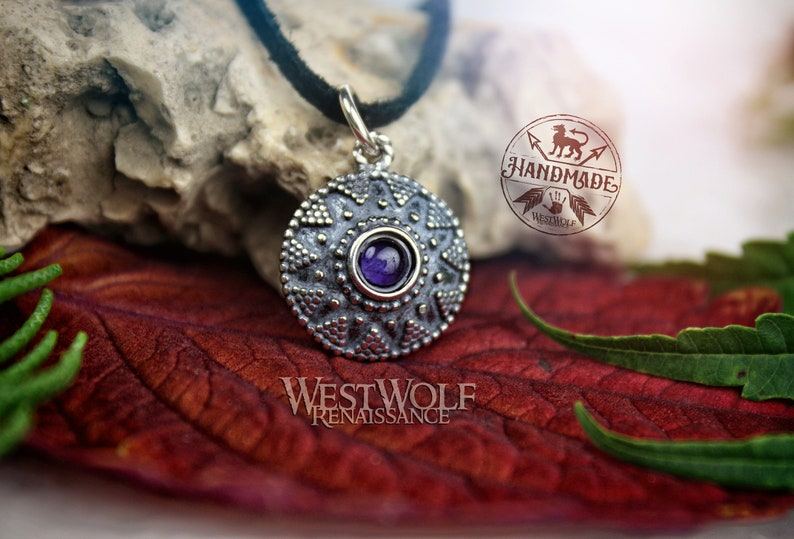 Sterling Silver Medieval Sun Pendant with Amethyst Stone - Historic Replica SlavicMoravianVikingJewelryShieldNecklace