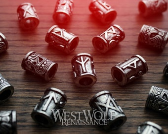 Viking Beads with Norse Runes - for Jewelry or Beards/Hair/Dreadlocks --- Scandinavian/Norway/Designs/Bead/Pewter/Necklace/Pendant