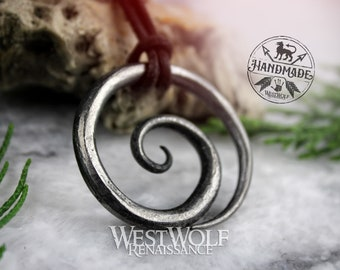 Celtic Spiral Pendant - Hand-Forged Iron with Adjustable Leather Neck Cord --- Dark Age/Medieval/Viking/Norse/Blacksmith/Necklace