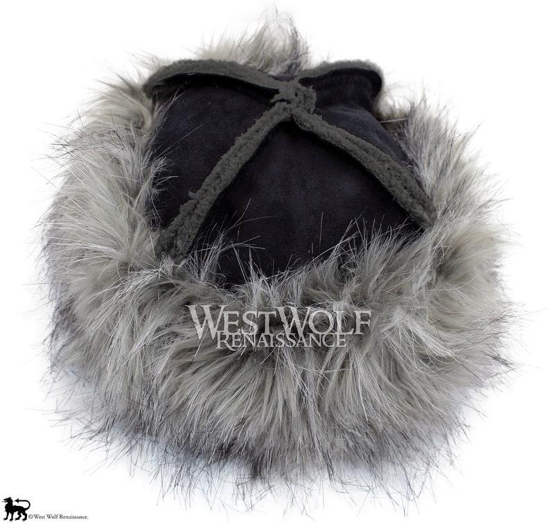 e6e4cfe4581 Grey Wolf Fur-Trimmed Viking Hat with Black Suede Top Faux