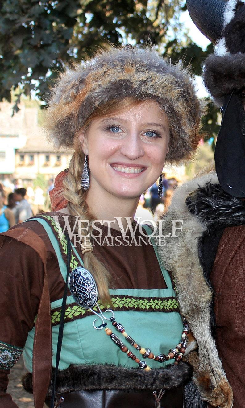 Golden Fox Fur-Trimmed Viking Hat Faux Fur