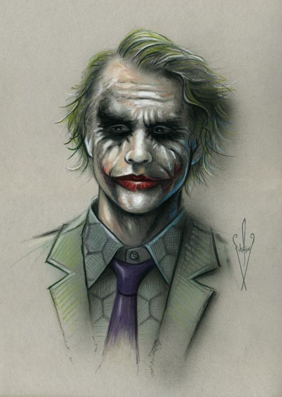 The Joker Pencil Airbrush Drawing 12 X 18 Inch Artwork Etsy