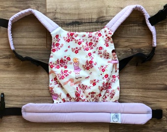 Pink and White Girls with Flowers Baby Doll Carrier
