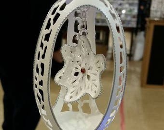 Carved Goose Egg: Hanging snowflake