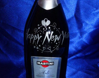 Customize Carved Champagne bottle