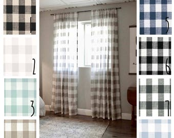 Plaid Curtains - Buffalo Plaid - FREE SHIPPING - 2 Curtain Panels - Nursery Curtains - Home Decor - Farmhouse Curtains - Gingham Curtains