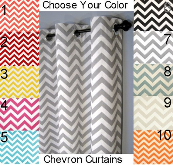 Chevron Curtains Free Shipping Two Curtain Panels Any Etsy