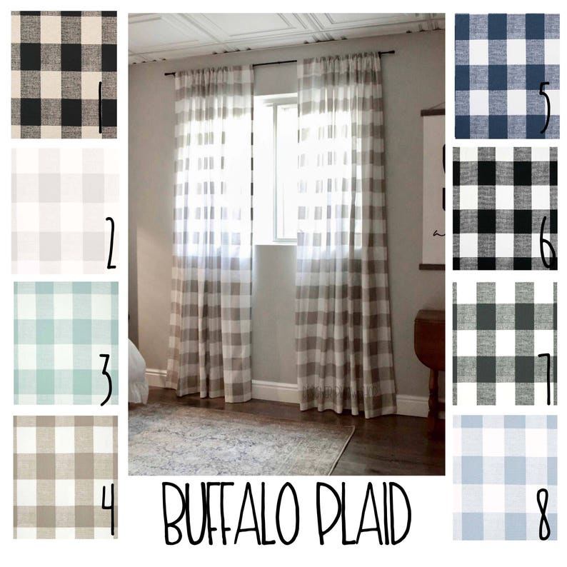 Plaid Curtains Buffalo Plaid Free Shipping 2 Curtain Etsy