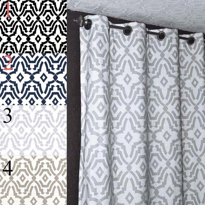 Ecru or Black Navy Chevelle Curtains Two Curtain Panels ANY Size Gray FREE SHIP White Curtain Home Decor Window Treatments