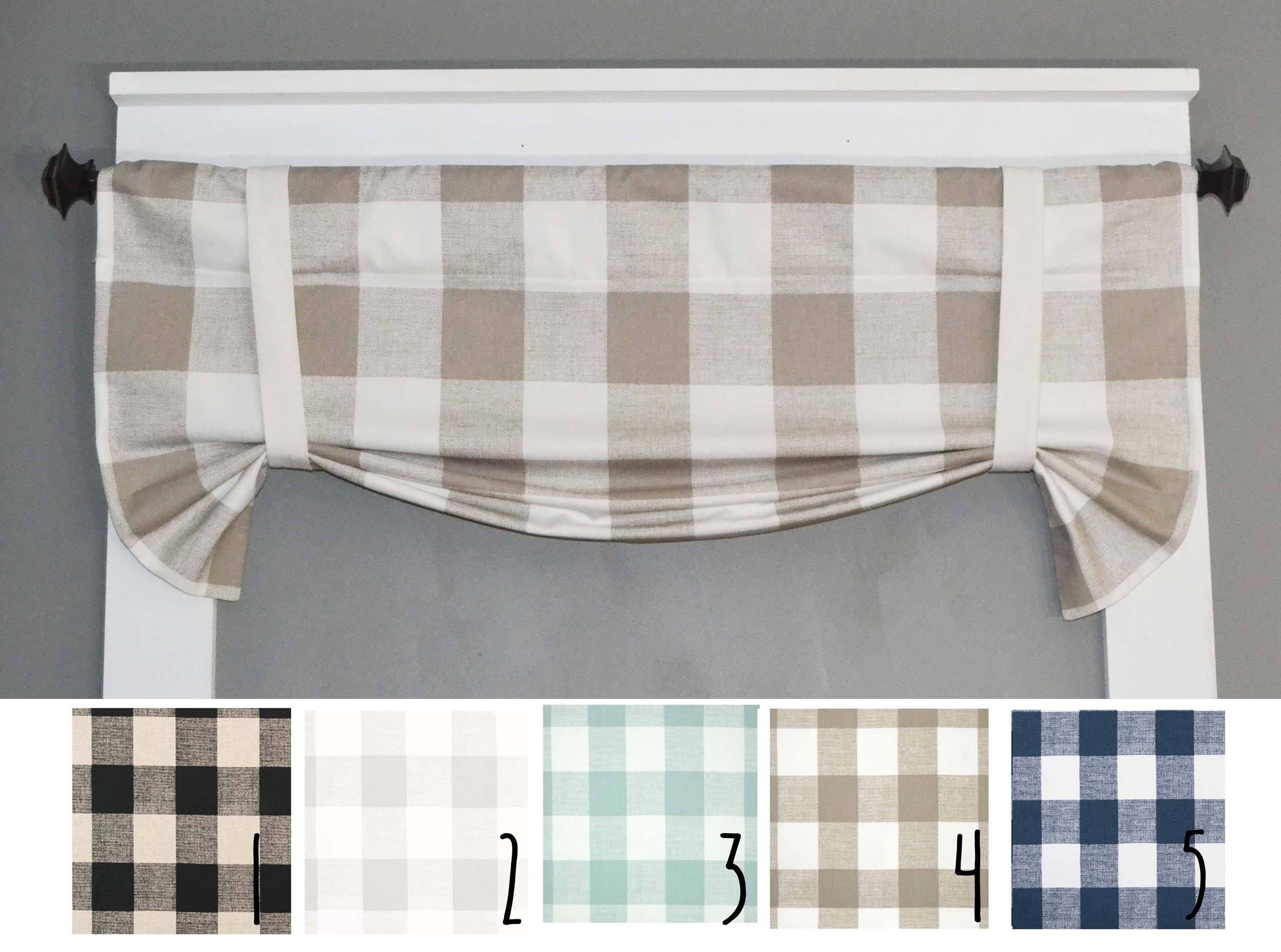 Plaid Valance Buffalo Plaid Kitchen Curtains Kitchen Etsy