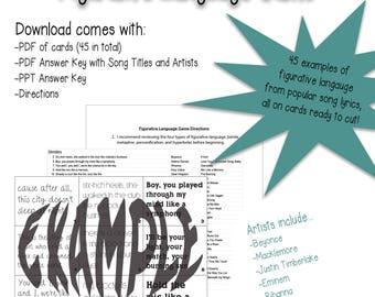 Popular song lyrics etsy figurative language game with popular song lyrics stopboris Gallery