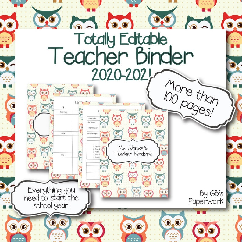Fully Editable Printable 2020-2021 Teacher Binder owl ...