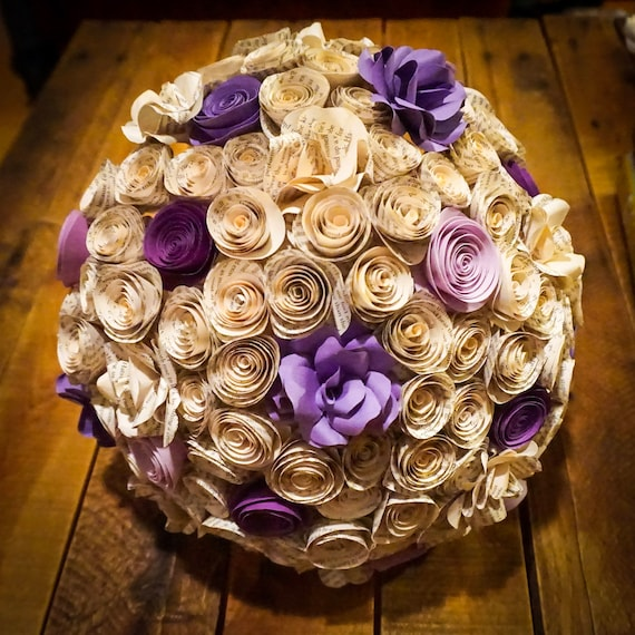 Paper Flower Bridal Bouquet 12 Inch Bouquet Wedding Etsy