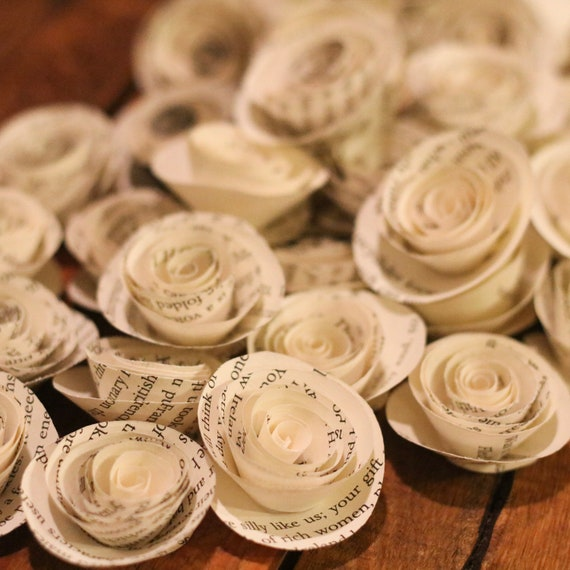 Small book pages paper roses 20 book roses paper roses etsy 50 mightylinksfo