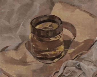 Oolong in a Whiskey Glass, oil painting