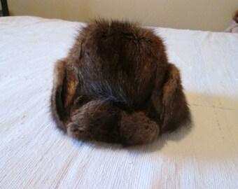 Rustic old helmet mens Beaver fur
