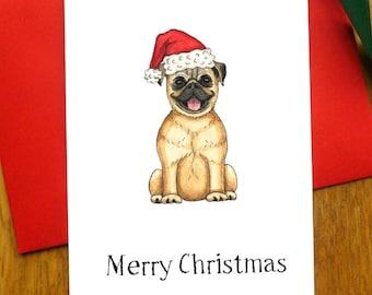 Pug Merry Christmas Card