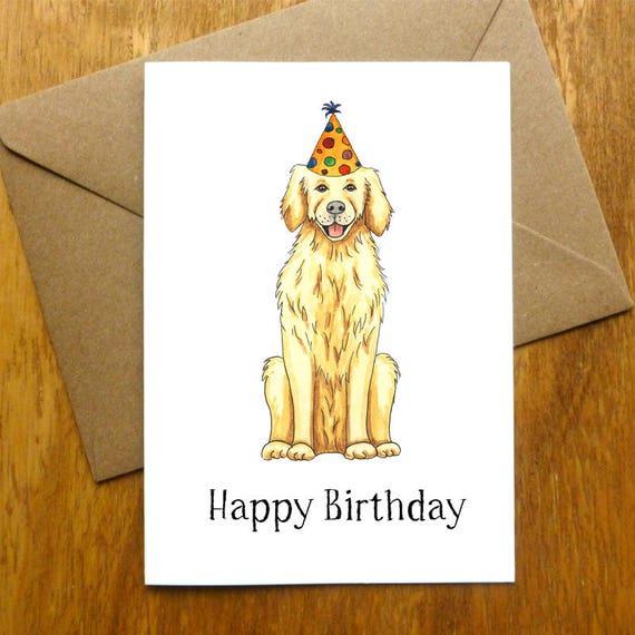 Golden Retriever Happy Birthday Card Etsy