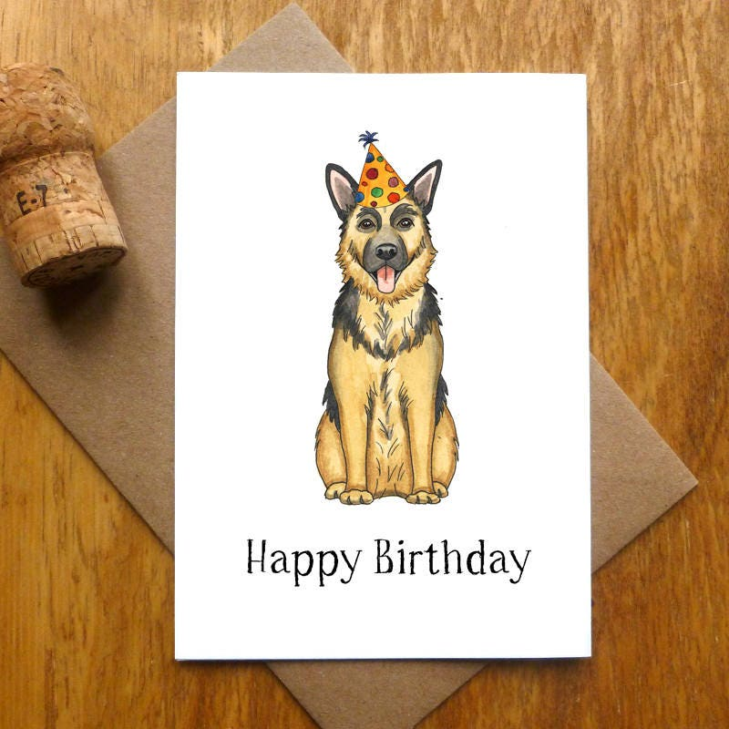 german shepherd happy birthday card  etsy
