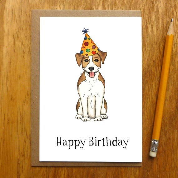 Jack Russell Terrier Happy Birthday Card