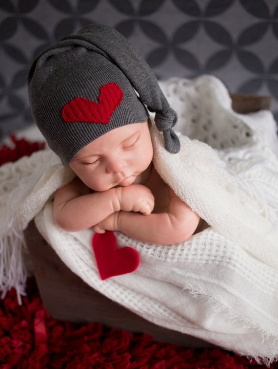 Newborn Boy Hat Gray Newborn Hat with Red Heart Upcycled  ac7985de432