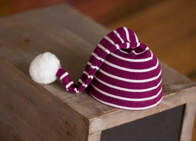Newborn Hat Christmas Newborn Hat Cranberry Red and White image 0
