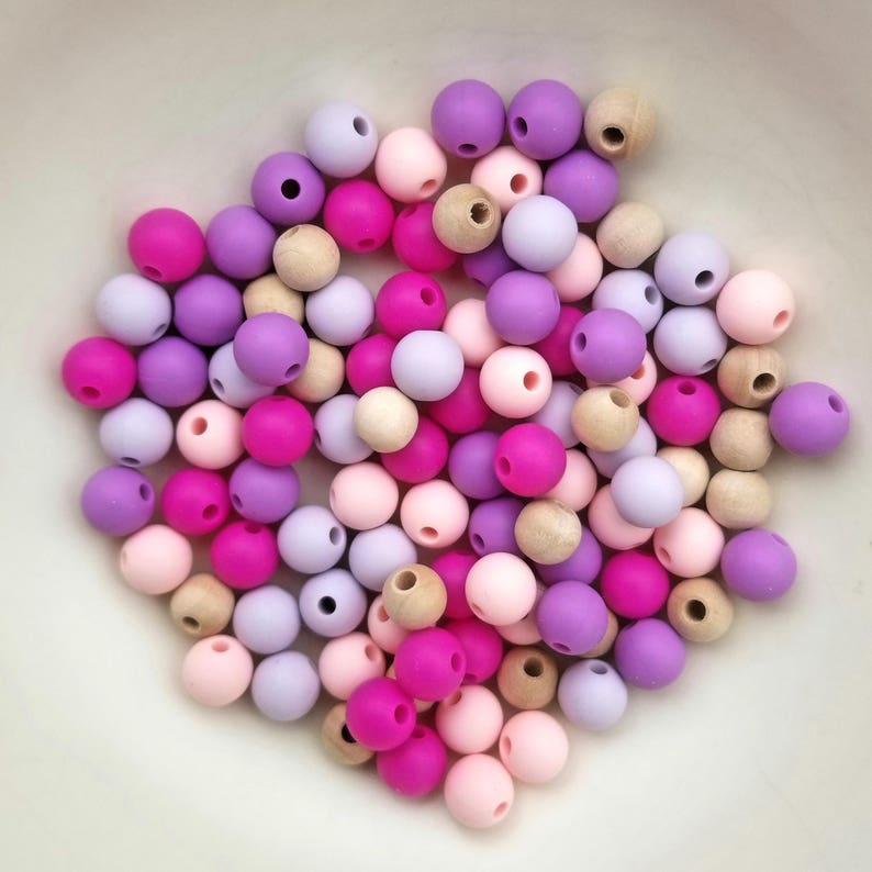 Food Grade BPA Free Set of 100 Mixed 9mm Round Silicone Beads /& 8mm Maple Wood Beads Great for teething jewelry
