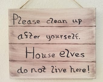 House elf sock sign etsy house elves sign clean up after yourself sign gifts for geeks geeky home solutioingenieria Images