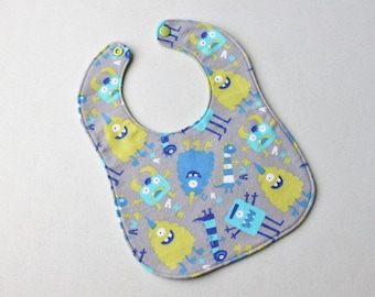 Baby Bib • Flannel Bib • Drool Bib • Teething Bib • Snap Bib • Handmade Bib • Triple Layer • Baby Shower Gift • Monster print with green