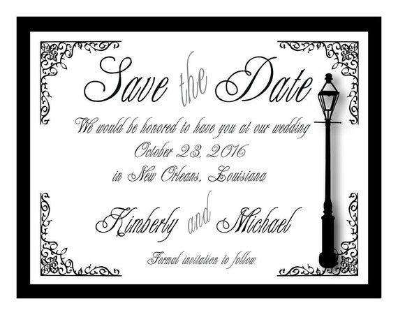 New Orleans Wrought Iron Fleur De Lis Save The Date Cards Set Etsy