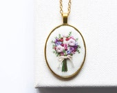 Hand Embroidered Bouquet Necklace | Personalized Floral Embroidery Pendant Jewelry | Statement Gold Pendant Wedding Necklace | Bride Gift
