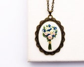 PRE-ORDER: Zadie's Hand Embroidered Bouquet Necklace | Blue Flower Embroidery Jewelry | Bridal Party Gift | Something Blue Boho Wedding