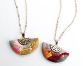 Hand Embroidered Geometric Statement Necklace | Embroidered Pattern Jewelry | Vibrant Spring Summer Necklace | Modern Wearable Fiber Art