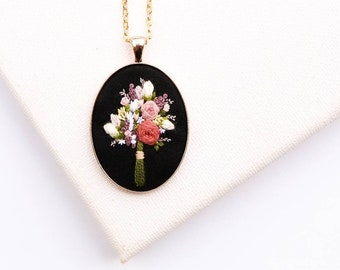 Hand Embroidered Bouquet Necklace, Black Floral Embroidered Pendant Jewelry, Modern Flower Embroidery, Personalized Gift for Bridesmaid