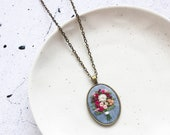 Fall-inspired Hand Embroidered Statement Necklace | Long Pendant Necklace for Mother's Day Gift Wedding Bride Anniversary Gift | Boho Modern