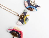 PRE-ORDER: Helene Pattern Necklace | Hand Embroidered Geometric Jewelry | Modern Statement Necklace | Fiber Art Jewelry | Gift Under 50
