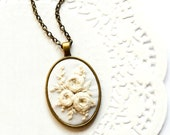 READY TO SHIP: Hand Embroidered White Flower Necklace | Barong Tagalog Filipiniana-inspired Wedding Pendant | Embroidery Minimalist Jewelry