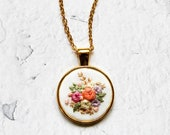 Hand Embroidered Flower Necklace | Vintage Inspired Embroidered Floral Jewelry | Embroidery Wedding Gift | Gold Silver Round Pendant