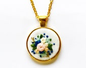 Zadie's Hand Embroidered Blue Necklace | Embroidery Round Pendant Necklace | Floral Gold Necklace | Christmas Gift for Mom, Sister, Coworker