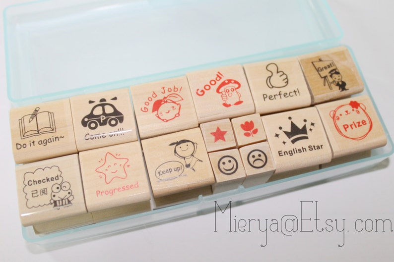 Comment Stamps-EM62392 Diary Stamps Rubber Stamp Set 15 Pcs English Stamps in Clear Case