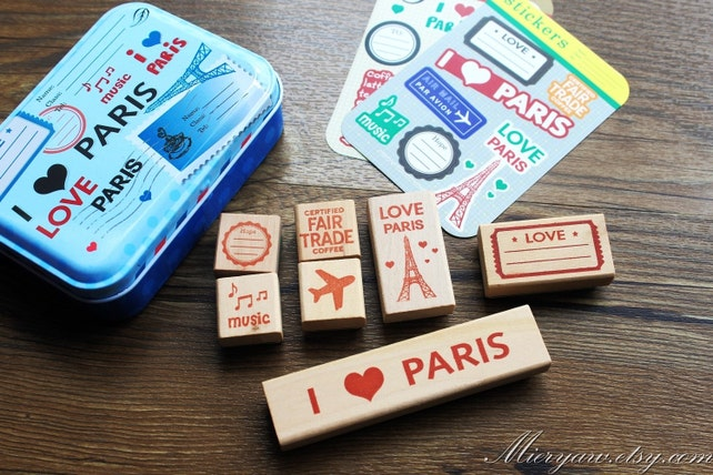 High Quality  Diary Stamp and Sticker Set in Tin Box - Rubber Stamp - Wood Stamp - Filofax - Ver 3