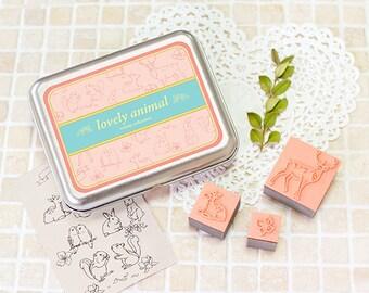 DIY Lovely Animal Stamps - Rubber Stamps - Tin Box Stamp Set - 13 pcs