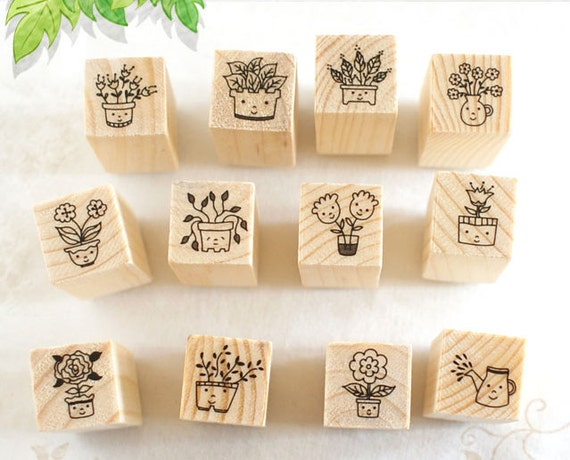 Flower and Smile Stamps Set - Rubber Stamp Set - Diary Stamps - Korean Stamps - 12 pcs in