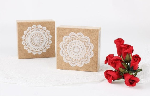 Lace Stamp Set - Wooden Rubber Stamps - Korean Stamps - Diary Stamps - 2 pcs in