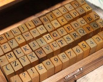 Alphabet Stamp Set - Wooden Rubber Stamps - Letter Stamps - 70pcs-EM62267