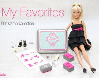 Barbie Stamp set with tin box - DIY Rubber Stamps - 9pcs